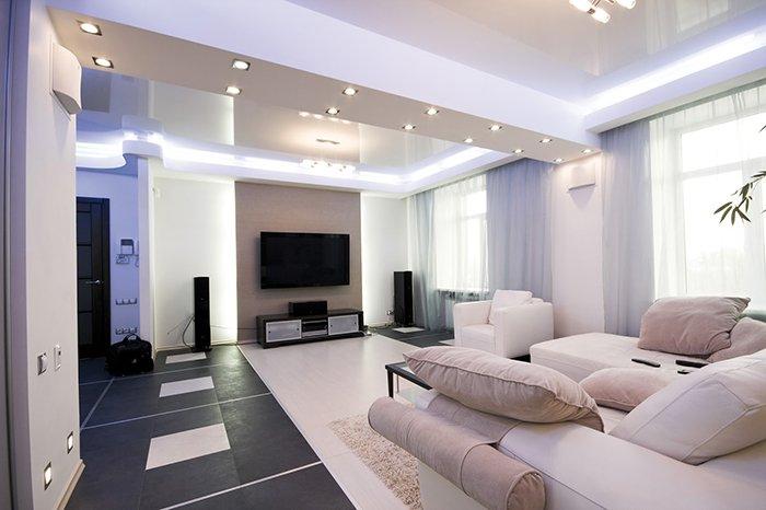 Потолок из гипсокартона со светодиодами