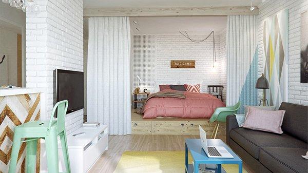 Спальня и гостинная в одном помещении