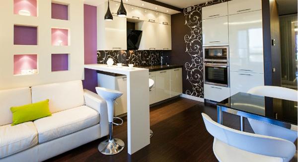 Фото зонирование гостиной и кухни