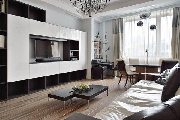Зонирование комнаты на гостиную и столовую