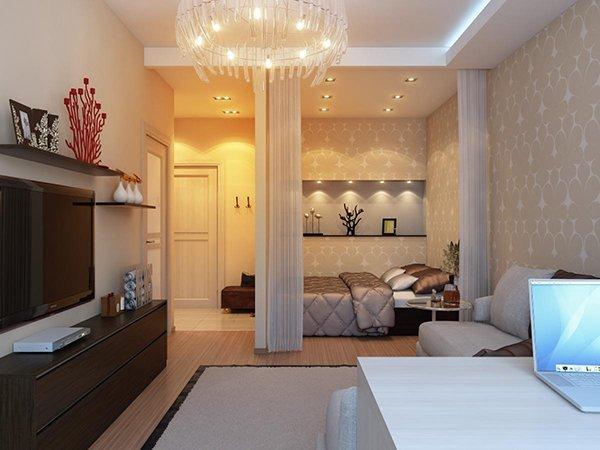 Дизайн спальни в нише
