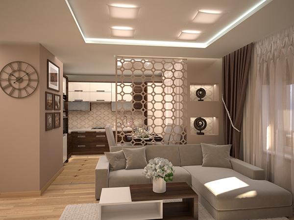 Деление пространства в интерьере квартиры