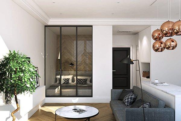 Стеклянные двери в спальню в нише