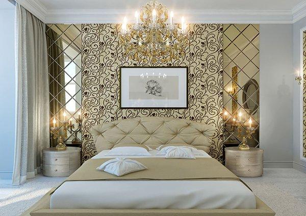 Интерьер спальни с зеркальной плиткой с фацетом
