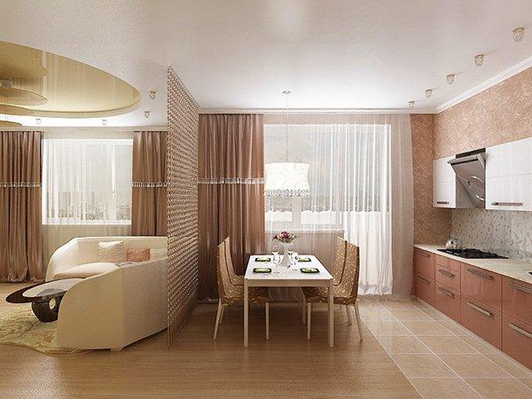 Зонирование гостиной и кухни полом
