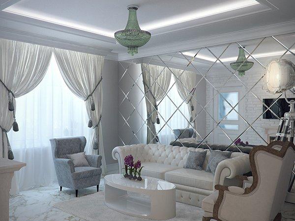 Фото гостиной с зеркальной стеной