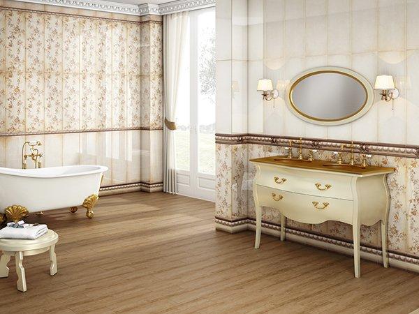 Ванная в стиле прованс в бежевых тонах