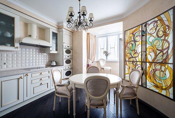 Дизайн кухни объединенной с балконом