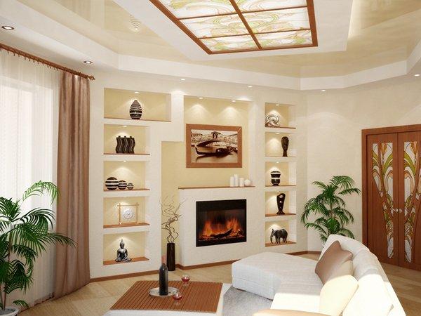 Дизайн гостиной с камином в квартире