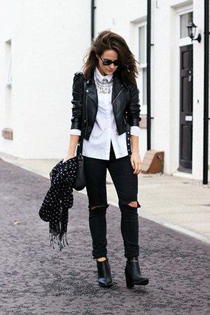 Комплект одежды с рваными джинсами