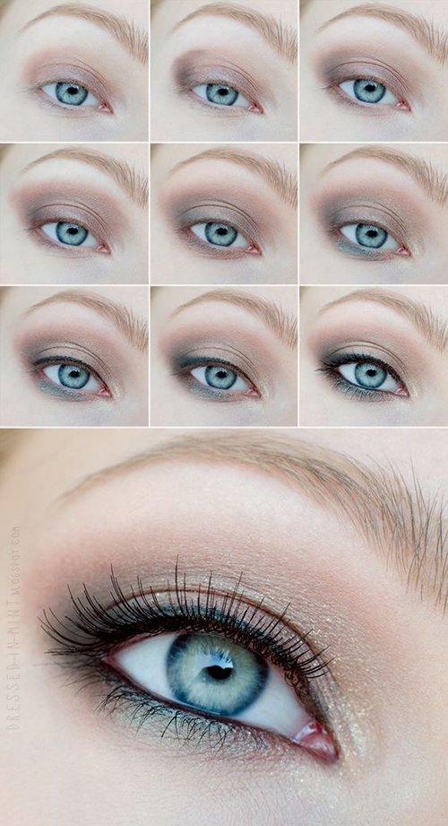 Дневной макияж для голубых глаз и светлых волос