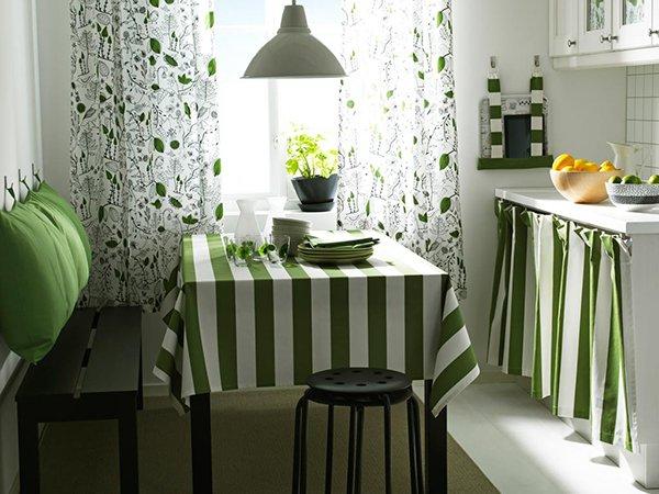 Декорирование кухни текстилем зеленого цвета