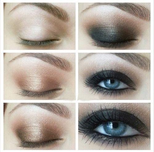 Темный макияж для голубых глаз
