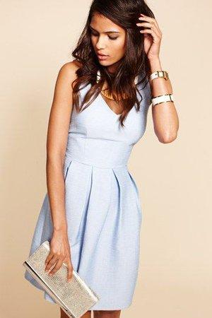 Голубое повседневное платье