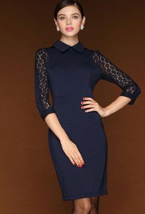 Синее скромное платье