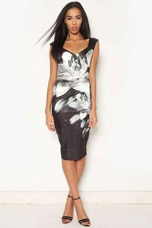 Деловое платье с цветами