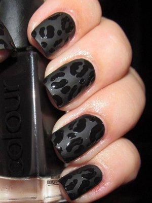 Черный леопард маникюр