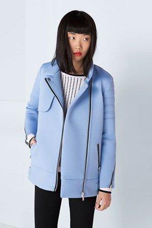 Голубое неопреновое пальто