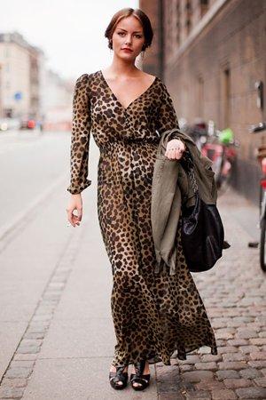 Леопардовой платье в пол