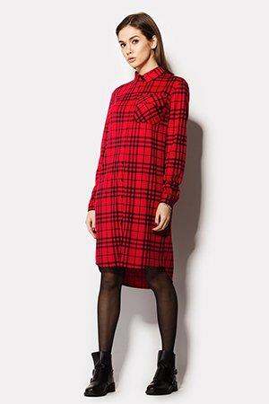 Платье рубашка в шотландскую клетку