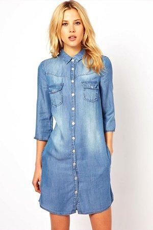 Платье рубашка из джинсы