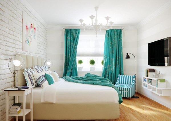 Сочетание белого и бирюзового оттенка в дизайне спальни