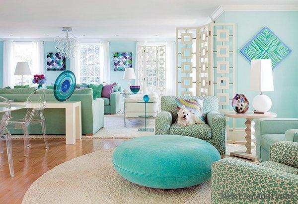Оттенки бирюзового в дизайне гостиной