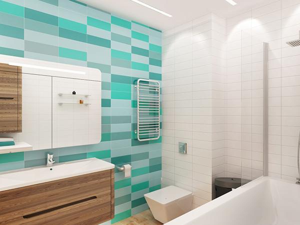 Бирюзовая плитка в ванне