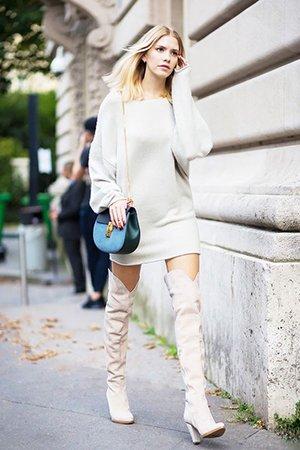 Носить ботфорты с платьем