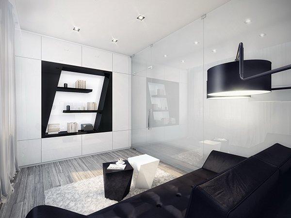 Оригинальный интерьер с черной мебелью