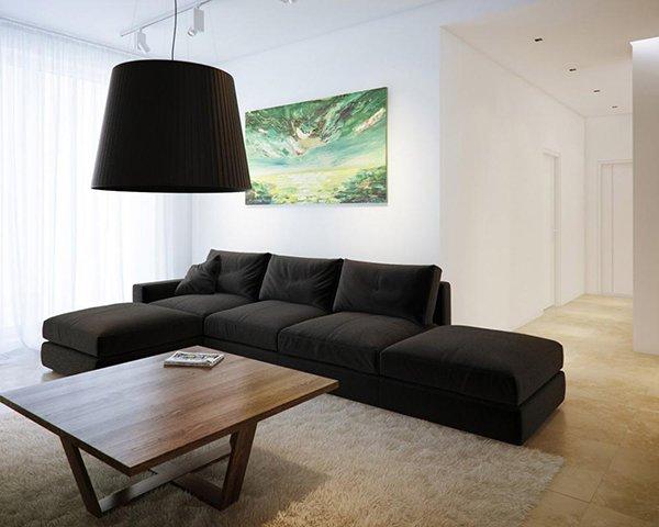 Черный диван в гостиной