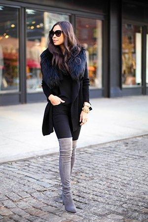 Ботфорты на каблуке с черной одеждой