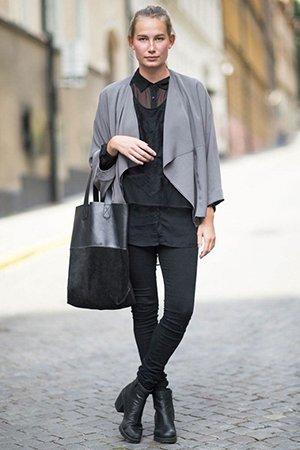 Ботильоны на толстом каблуке с черными джинсами