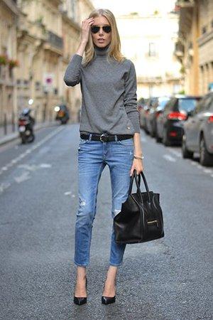 Туфли на шпильке с джинсами