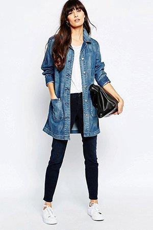 Удлиненный джинсовый жакет