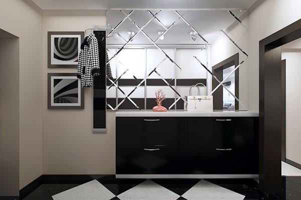 Зеркальная плитка в интерьере прихожей