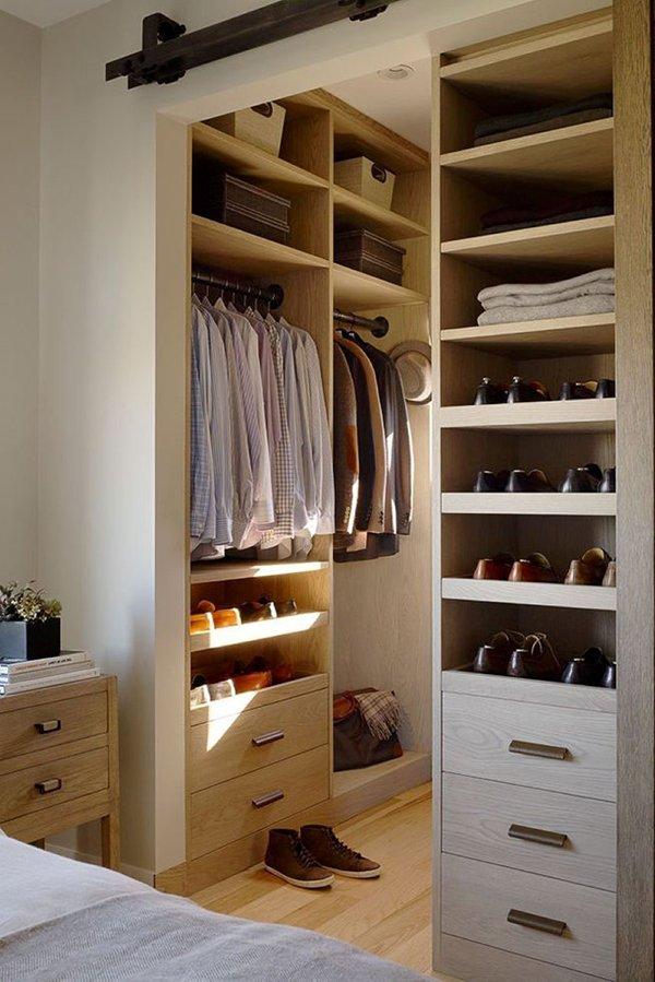 Планировка гардеробной в нише комнаты