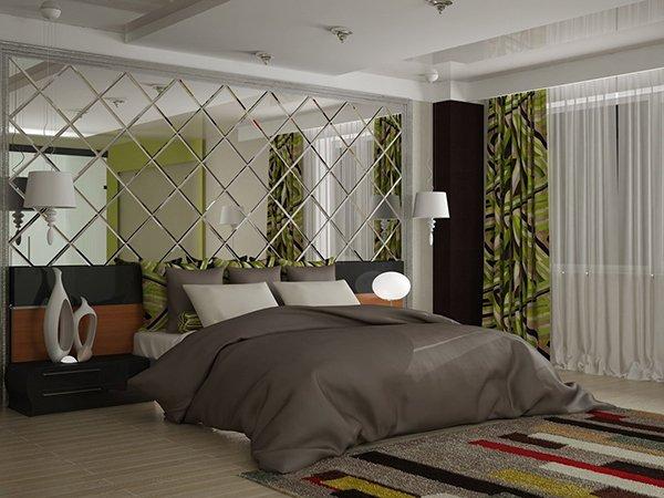 Фото спальни с зеркальным панно