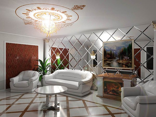 Дизайн гостиной с зеркальным панно