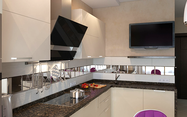 Дизайн кухни с зеркальной плиткой