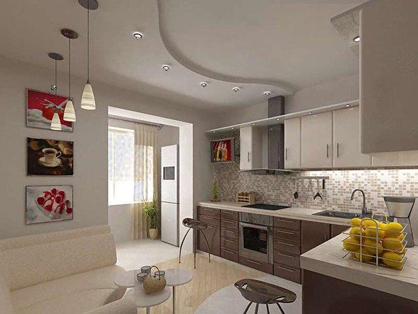 Фото дизайна интерьера кухни с балконом