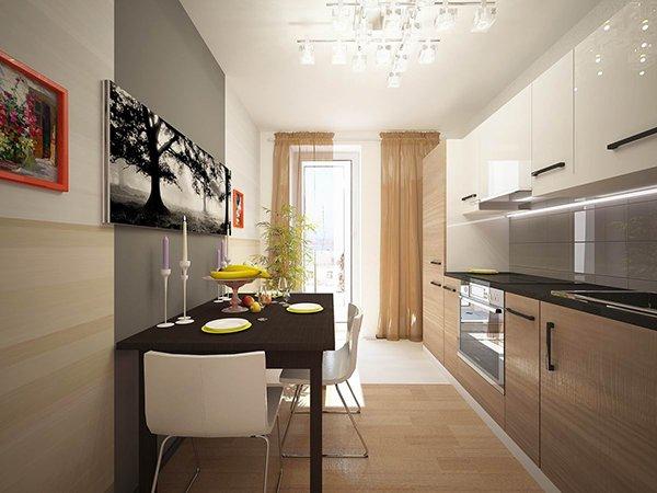 Дизайн кухни с балконной дверью