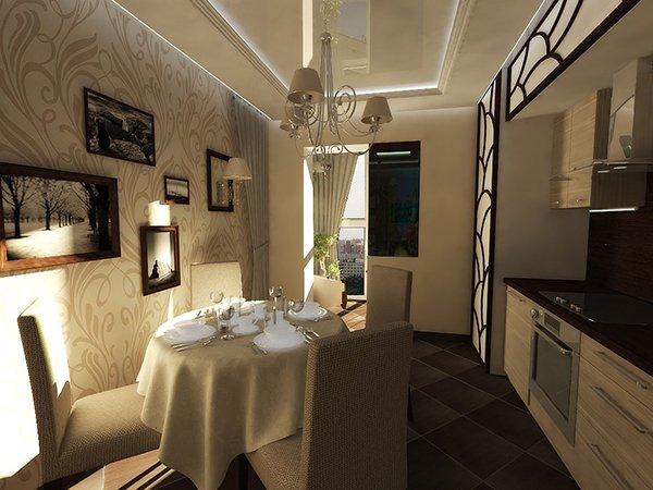 Шторы на кухне на балконном проеме