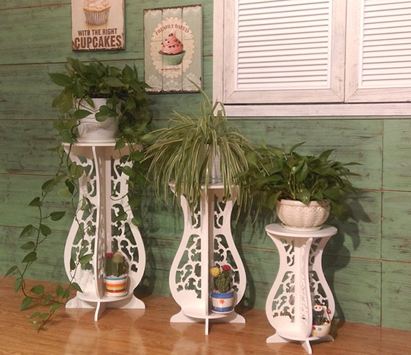 Деревянная напольная подставка под цветы